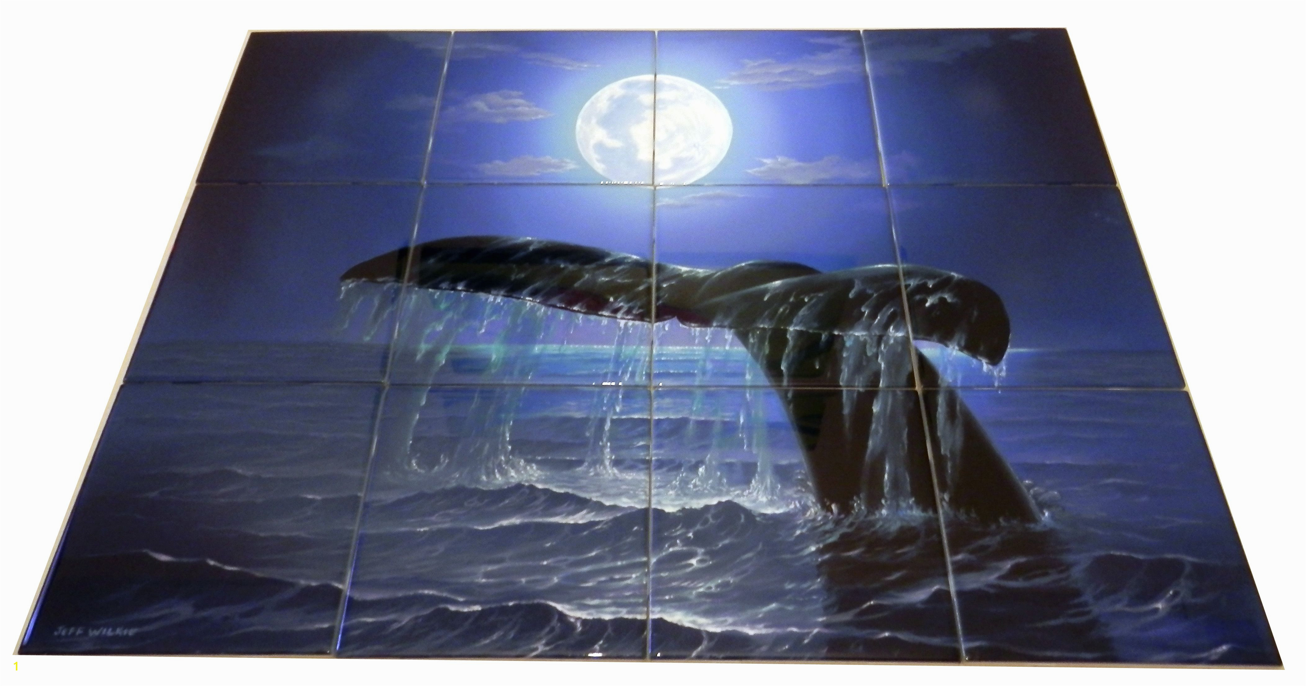 Night Dive Tile Mural Our dolphin tile murals and our tiles with whales are perfect