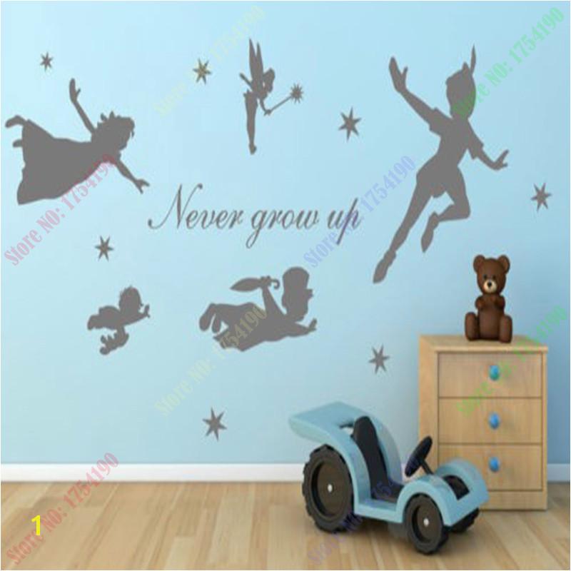 Peter Pan Vinyl Wall decal Sticker Custom Mural Fantasy Fairytale Mmagic Tinkerbell nursery pixiedust Boys Girls Room Decor