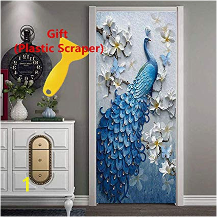 3D Door Wallpaper Wall Mural Peacock Decor Door Decal Stickers with Plastic Scraper as Gift Removable
