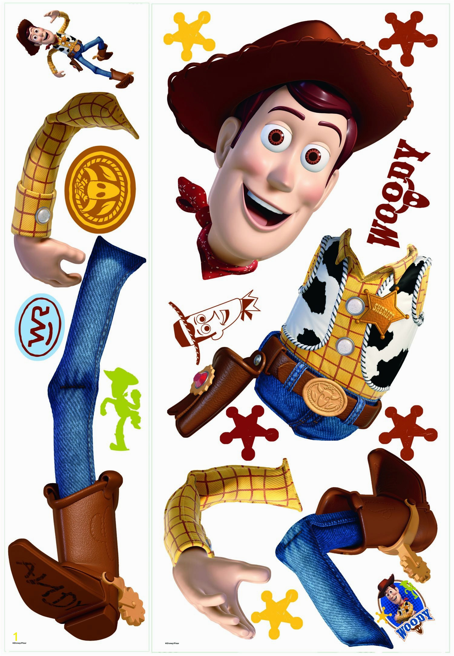 "Disney ""Toy Story 3"" Woody Wall Decal Cutout 25""x50"" Printed Sheet"