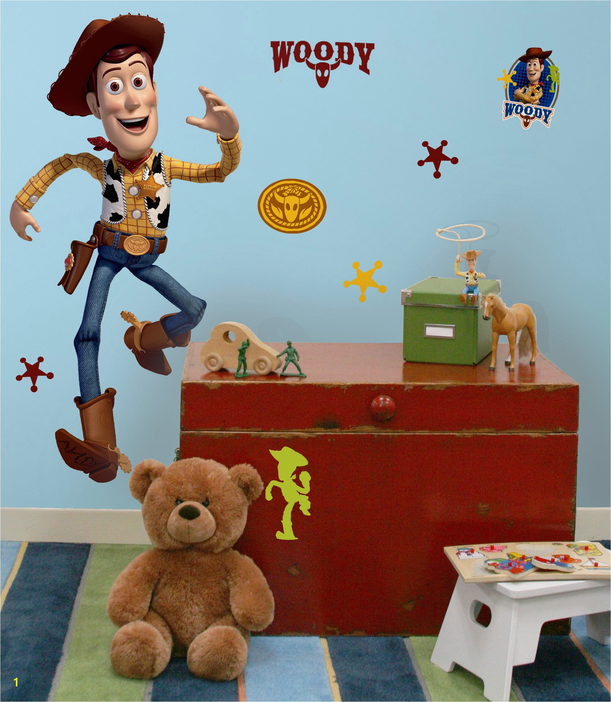 "Disney ""Toy Story 3"" Woody Wall Decal Cutout 25""x50"" Installed"
