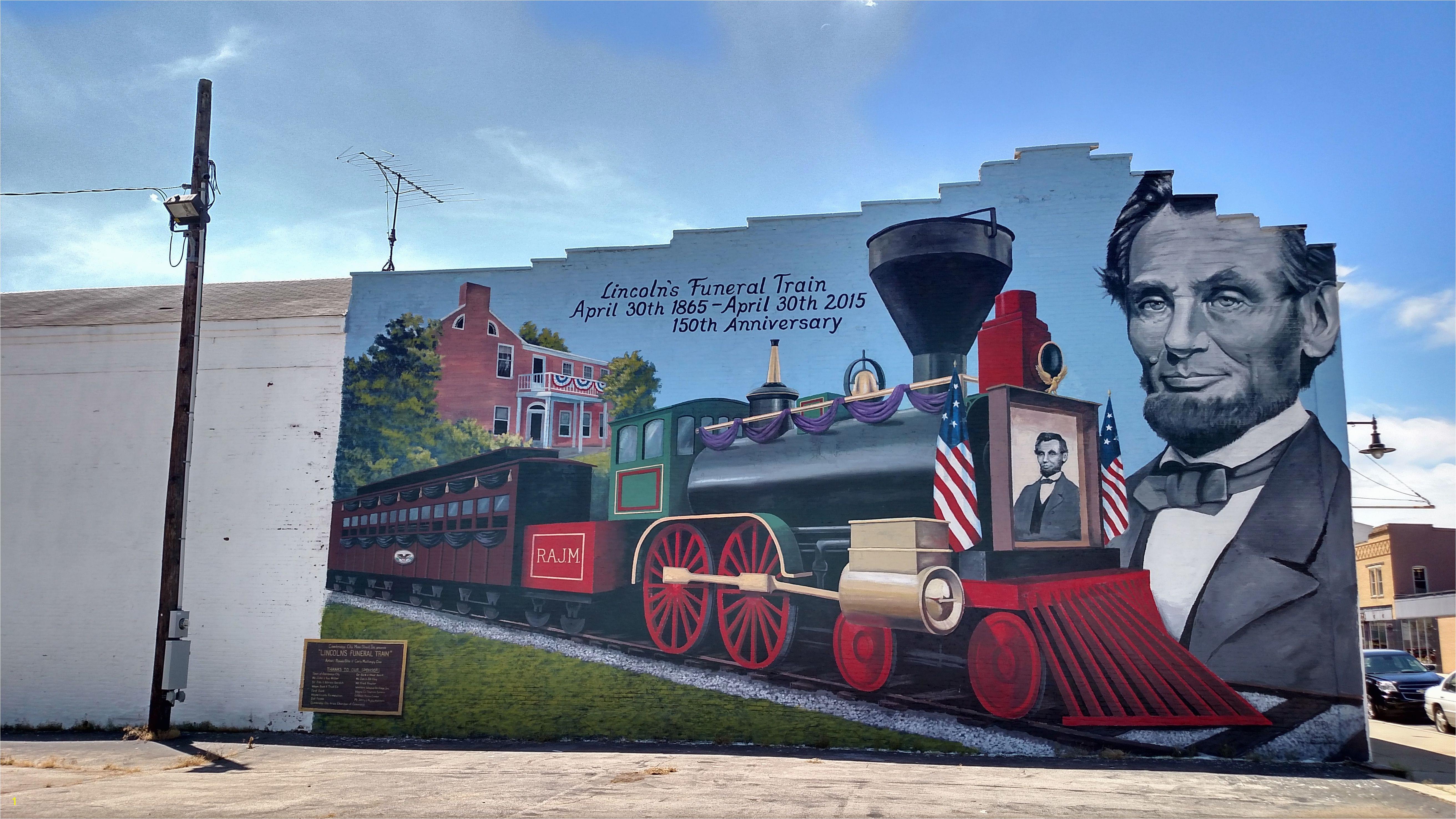 Lincoln Funeral Train Cambridge City Indiana Funeral Murals Cambridge Lincoln