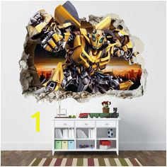 TRANSFORMERS SMASHED WALL STICKER BEDROOM BOYS BUMBLEBEE VINYL WALL ART