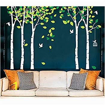 Fymural 5 Trees Wall Decals Forest Mural Paper for Bedroom Kid Baby Nursery Vinyl Removable
