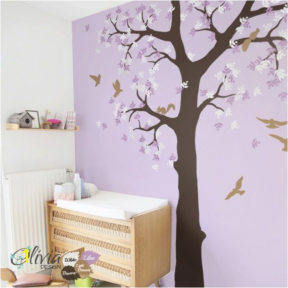 Baby nursery Tree vinyl wall decal with birds and squirrels Kids room mural sticker NT036