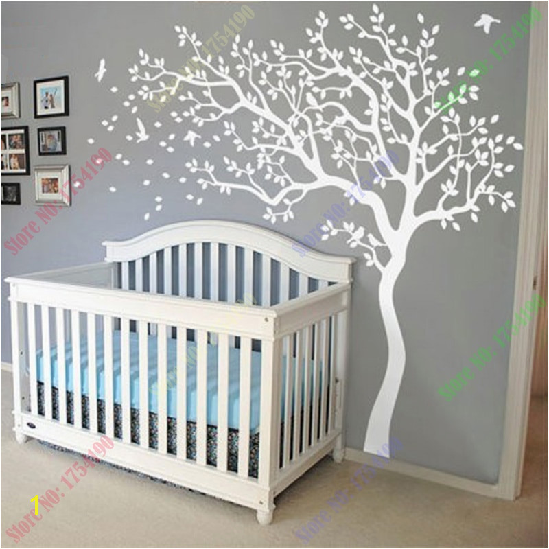 Huge White Tree Wall Decal Nursery Tree and Birds Wall Art Baby Kids Room Wall Sticker Nature Wall Decor 213X210CM