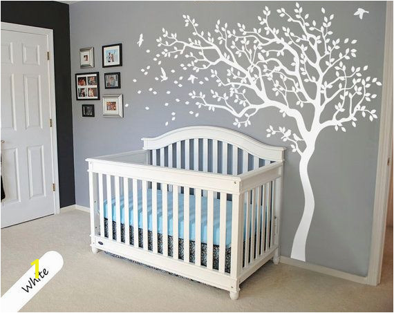 White Tree Wall Decal Huge Tree wall decal Wall Mural Stickers Nursery Tree and Birds Wall Art Tattoo Nature Wall Decals Decor 047