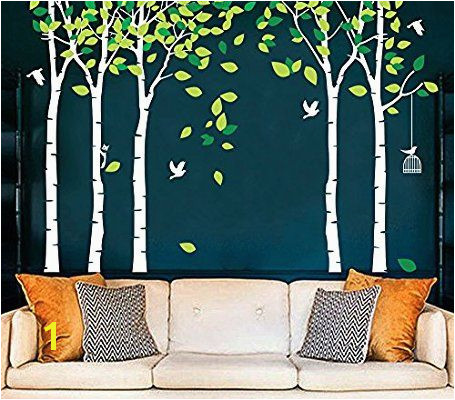Amazon CaseFan 5 Trees Wall Decals Forest Mural Paper for Bedroom Kid Baby Nursery Vinyl Removable DIY Decals 103 9x70 9 White Green Home & Kitchen