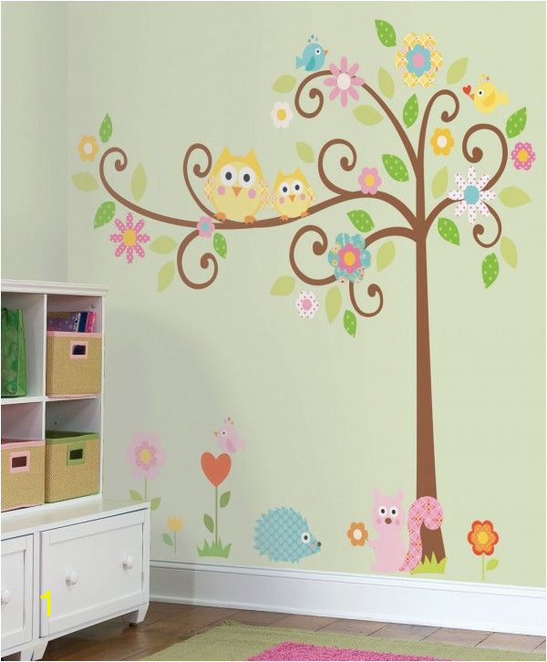 I LOVE these decals Owls Scroll Tree Wall Decals for Kids Rooms Owl themed Nursery Owl Nursery Decor Adhesive Owl Tree Wall Decals for Nursery