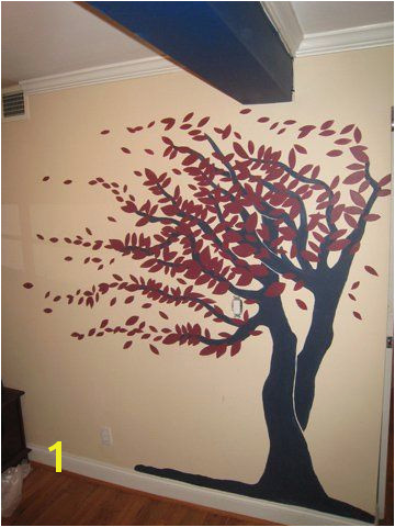 Burgundy and Navy Tree Mural