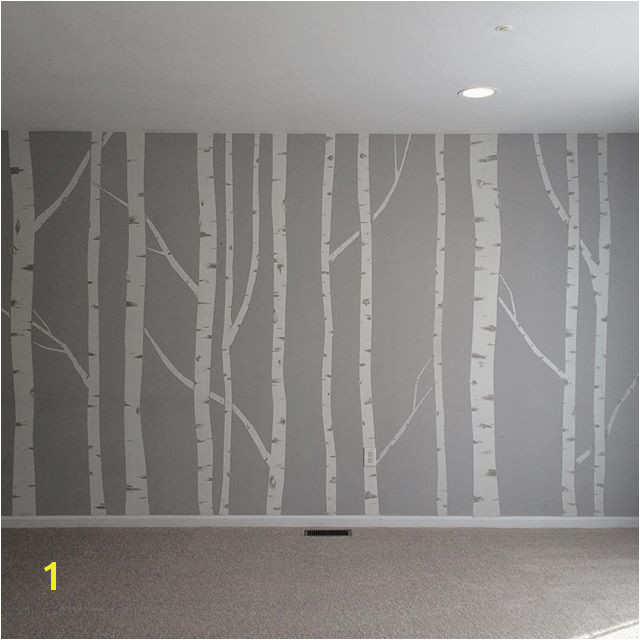 Hand painted birch tree wall mural made by taping off the trunks and branches then going back over it to brush in the details