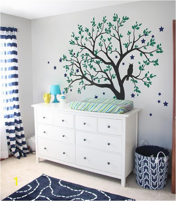 Tree Wall Decals Baby Nursery Tree Wall Sticker with Owl and Stars and Tree wall mural art L