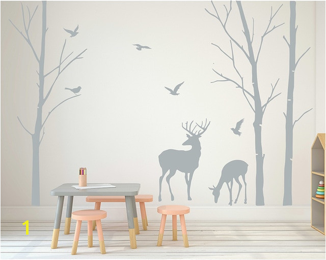 Deer Wall Decals Tree Nursery Wall Art Woodland Nursery Removable Sticker Birch Tree Wall Sticker Birds