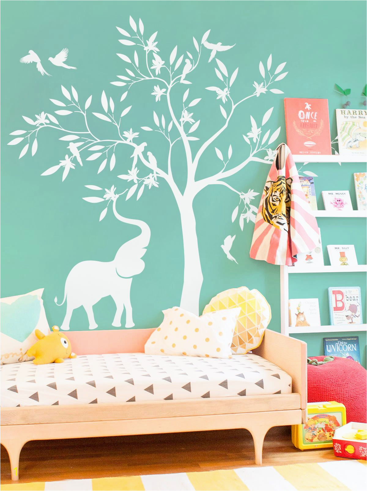 Elegant white tree wall decal White elephant elephant birds tree white tree fancy DIY room art nursery babyshower