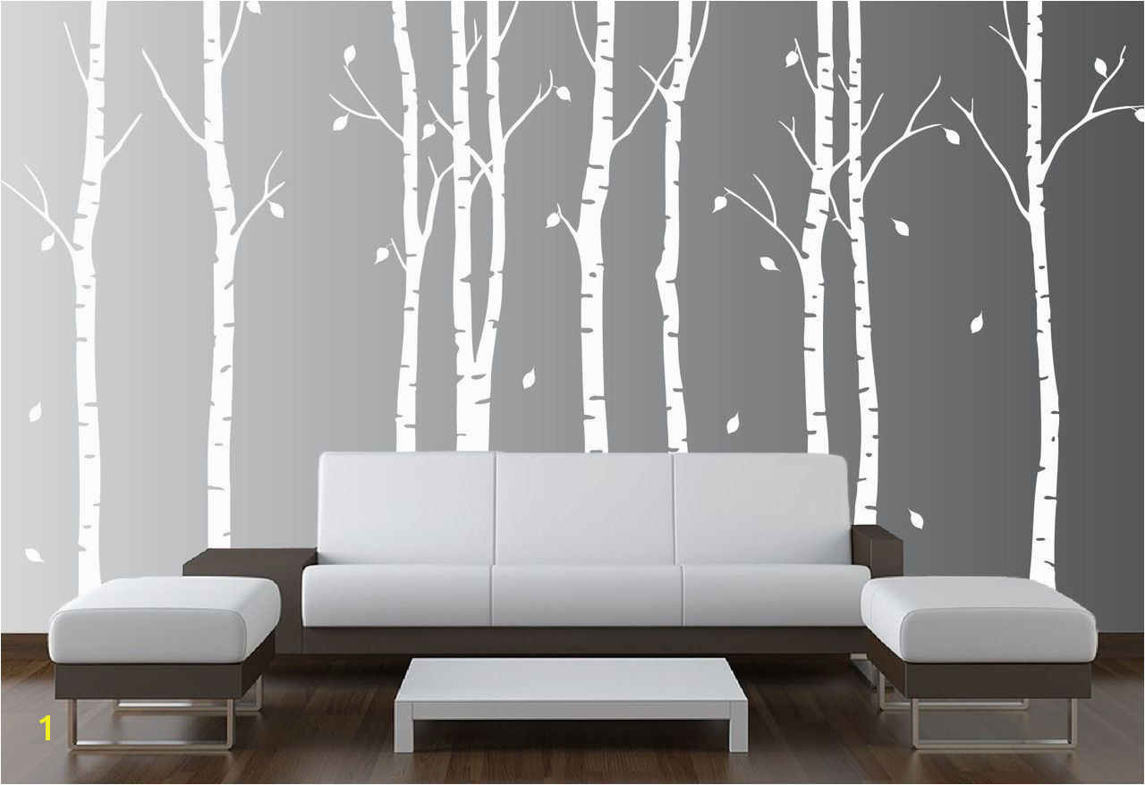 InnovativeStencils Wall Birch Tree Nursery Decal Forest Kids Vinyl Sticker Leaves