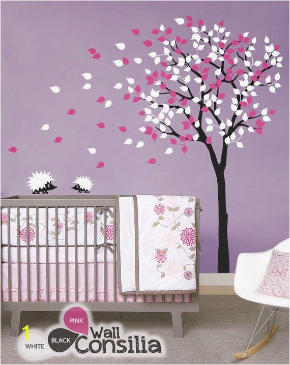 "Baby Nursery Wall Decals Tree Wall Decal Tree Decal Hedgehog Decal approx 79"" x 85"""