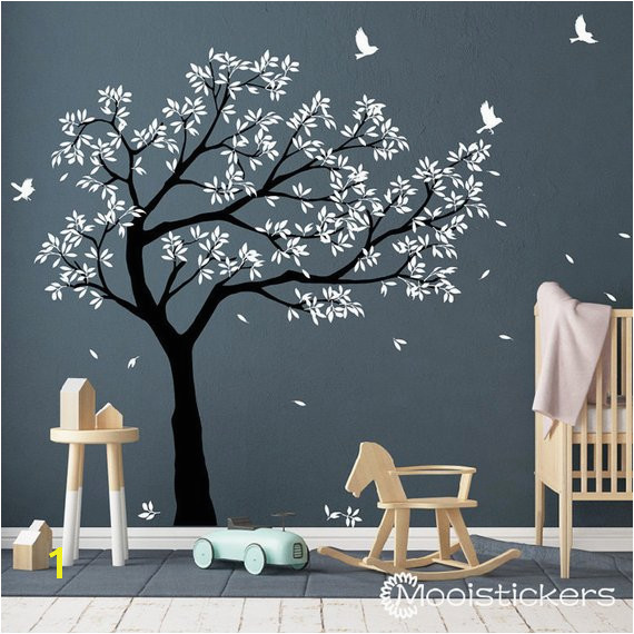 Tree Wall Decal Tree decals huge tree decal nursery with birds Tree Wall tattoos Wall mural re
