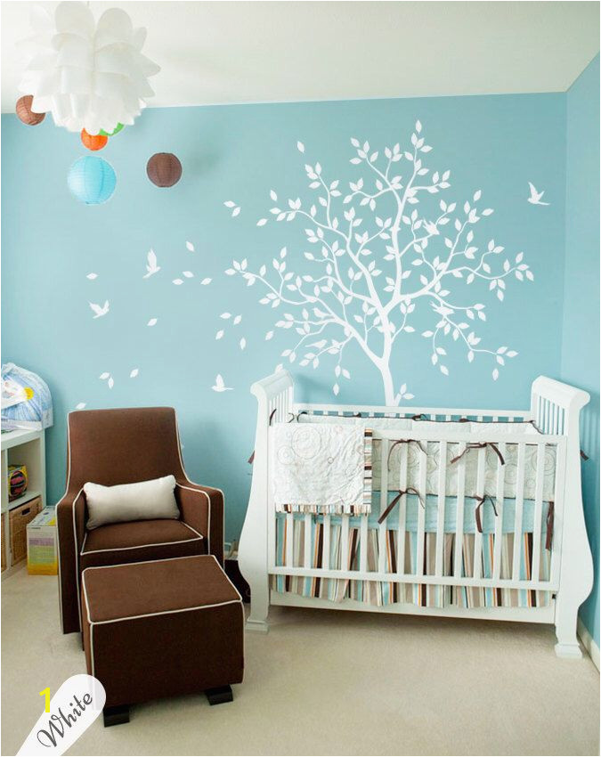 White tree wall decal nursery with birds studio wall decoration dining room wall decals nursery tree