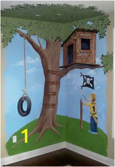 Hand painted tree house mural 7 x 7 custom designed Personalized with