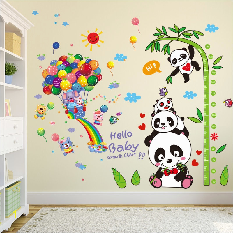 [SHIJUEHEZI] Pandas Elephant Animals Wall Stickers PVC Material Balloons Bamboo Wall Decor for Kids