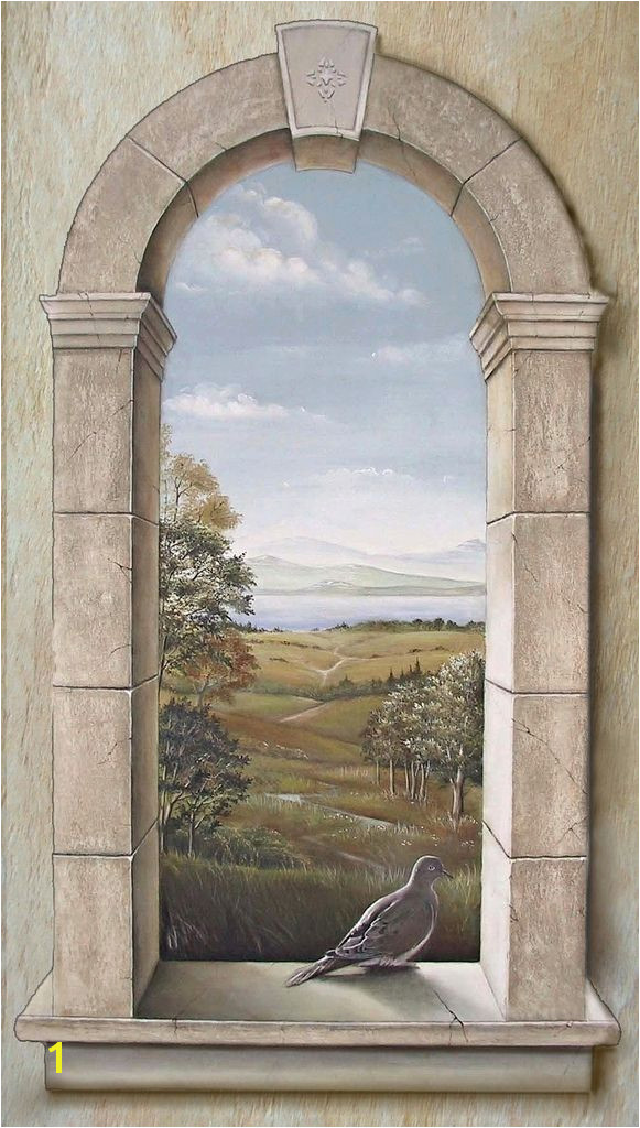 Arched Window with Dove The trompe l oeil window was paint…