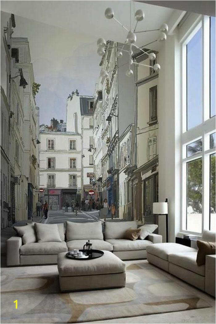 tapisserie trompe l oeil poster mural trompe l oeil canapé gris lampe de salon blanche