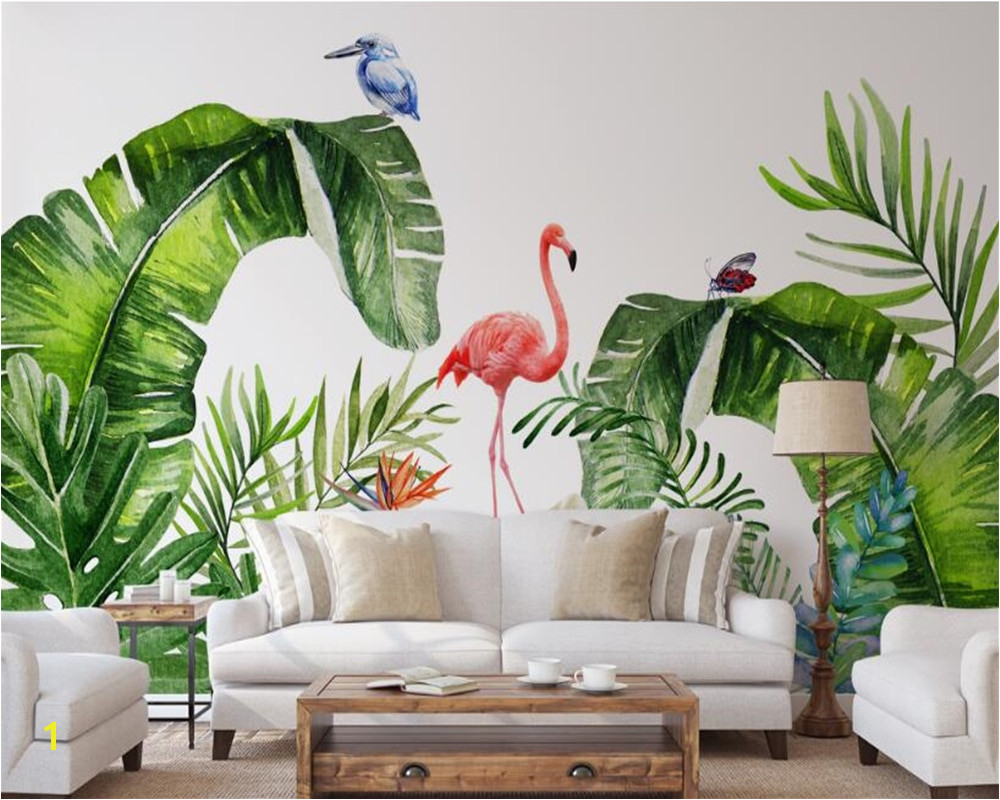 beibehang Custom interiors painting papel de parede 3d wallpaper Nordic tropical plants flamingo background wall paper murals