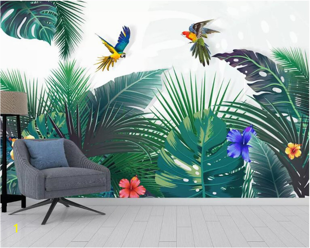 Beibehang Custom mural wallpaper hand drawn tropical forest colorful parrot background wall painting wallpaper papel de parede in Wallpapers from Home