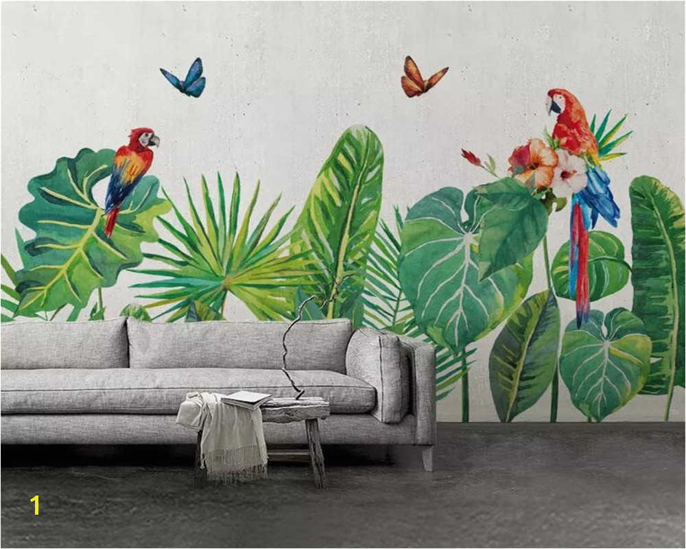 Beibehang Custom mural wallpaper hand drawn tropical forest colorful parrot background wall painting wallpaper papel de parede