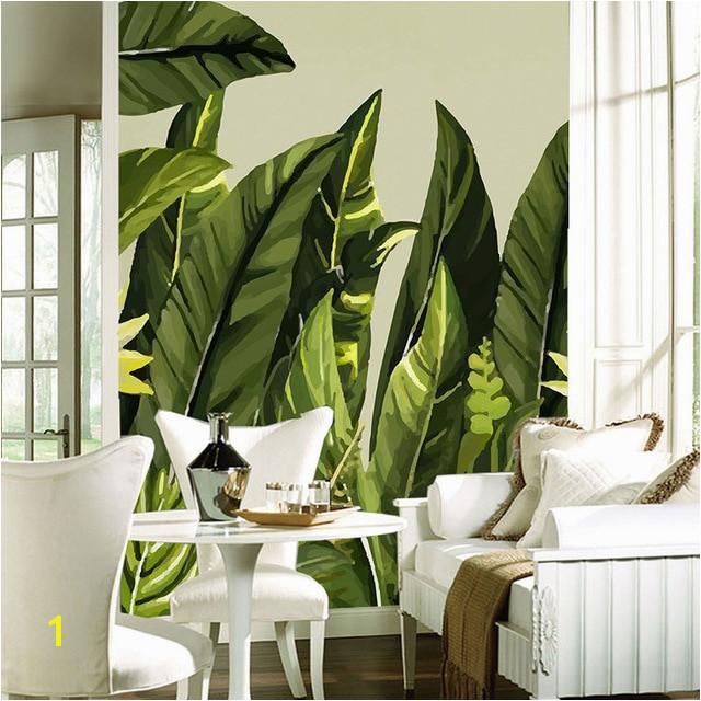 Tropical Murals Paintings Custom Any Size Mural Wallpaper Modern Rain Tropical Palm Banana