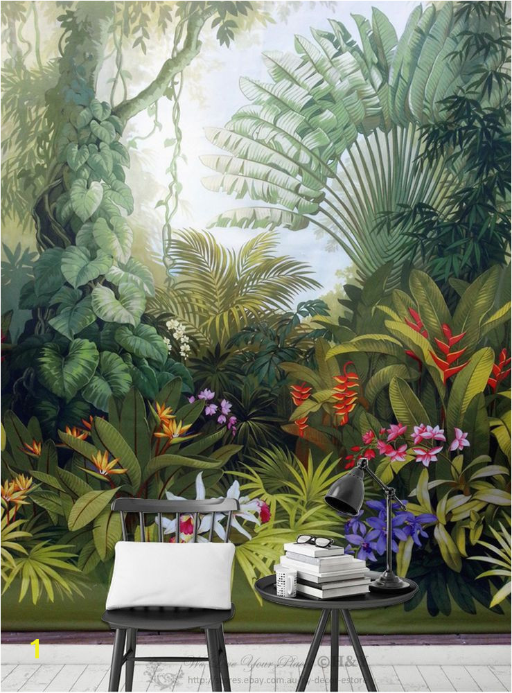 Tropical Murals Paintings Mid Ages Garden forest Removable Wall Mural Paper Sticker Wallpaper