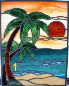 Sally Crutcher Stained Glass Gallery beach scene palm trees sunset Stained Glass Crafts Stained