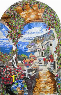 Mediterranean landscape mosaic mural Please see MOSAICSYOURWAY Marble Mosaic Mosaic Wall