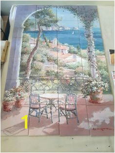 "Provence tile mural on 6"" tiles at £336 tilemural kitchensplashback tuscany mediterranean waterviews"