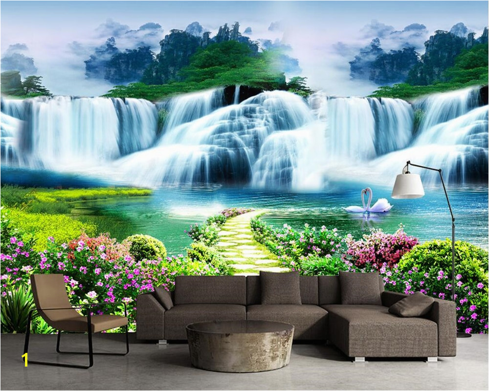 Beibehang costom wallpaper flower tree path waterfall landscape landscape art murals life bedroom children room 3d wallpaper