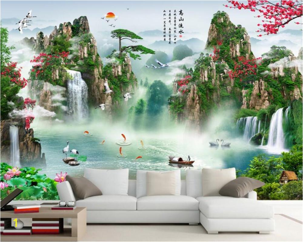 Beibehang Custom wallpaper HD Landscape Waterfall mural TV background wall living room bedroom background wall 3d wallpaper in Wallpapers from Home
