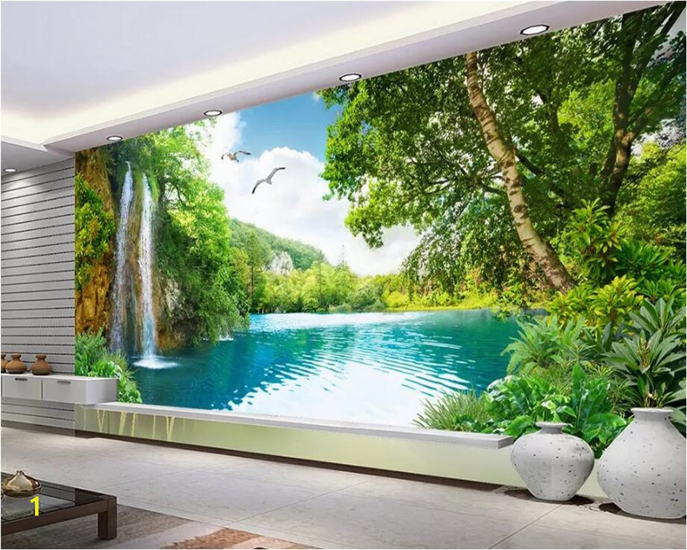 Beibehang Customize any size 3D wall murals wallpaper living room modern fashion Nature waterfall landscape tree 3d wallpaper