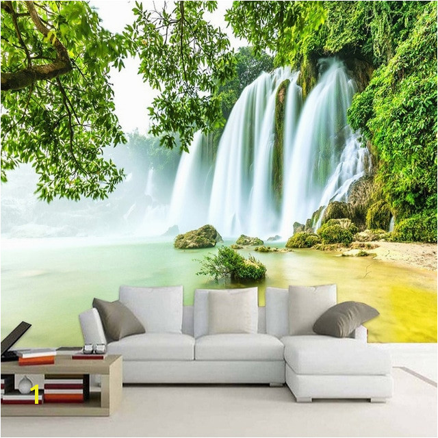 Custom Mural Wallpaper 3D Stereo Green Forest Waterfalls Nature Scenery Wall Painting Living Room TV Sofa Backdrop 3D Home Decor
