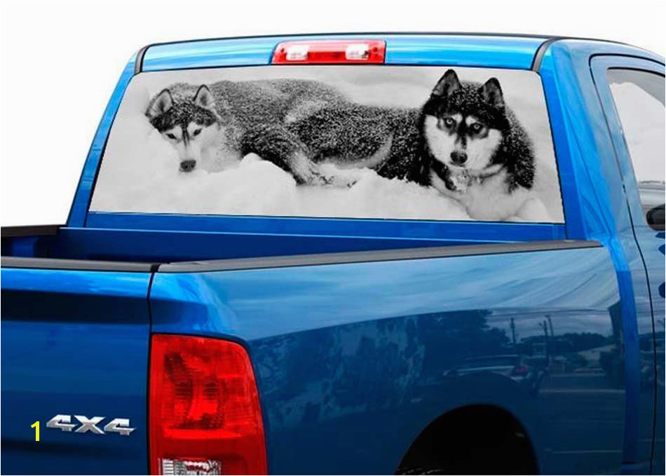 2 two wolves black and white rear window decal sticker pick up truck suv car