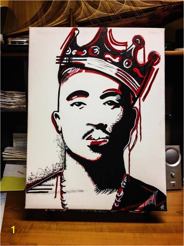 Tupac art artist canvas paint painting tupac Shakur 2pac rap forever crown biggie smalls stencilart streetart red artislife artagram