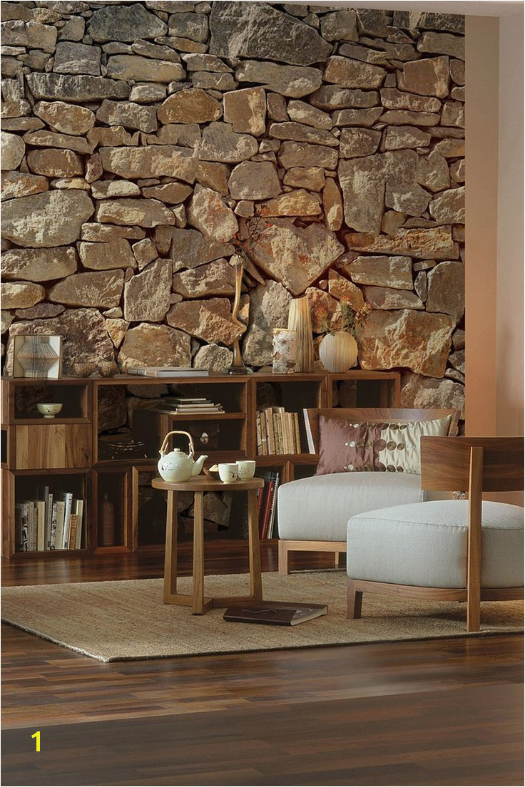 realistic wallpaper to turn your room into a luxurious stone walled den