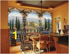 Tuscan Villa Wall Mural Environmental Graphics The arches in this wall mural perfectly frame a beautiful countryside view that actually makes your room