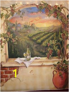 Custom Murals Italian Vineyard landscape MURAL wine mural on walls or canvas