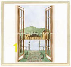 Tuscan Landscape Stencil Garden Mural Landscape Walls Window Wall Wall Murals Parisian
