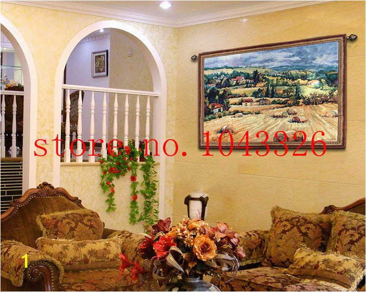 90 125cm World famous wall paintings Tuscan countryside antique mural jacauard fabric picture tapestry wall hanging in Tapestry from Home & Garden on