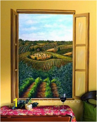 Tuscan vineyard mural