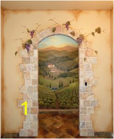 painted mural of an open door on a wall