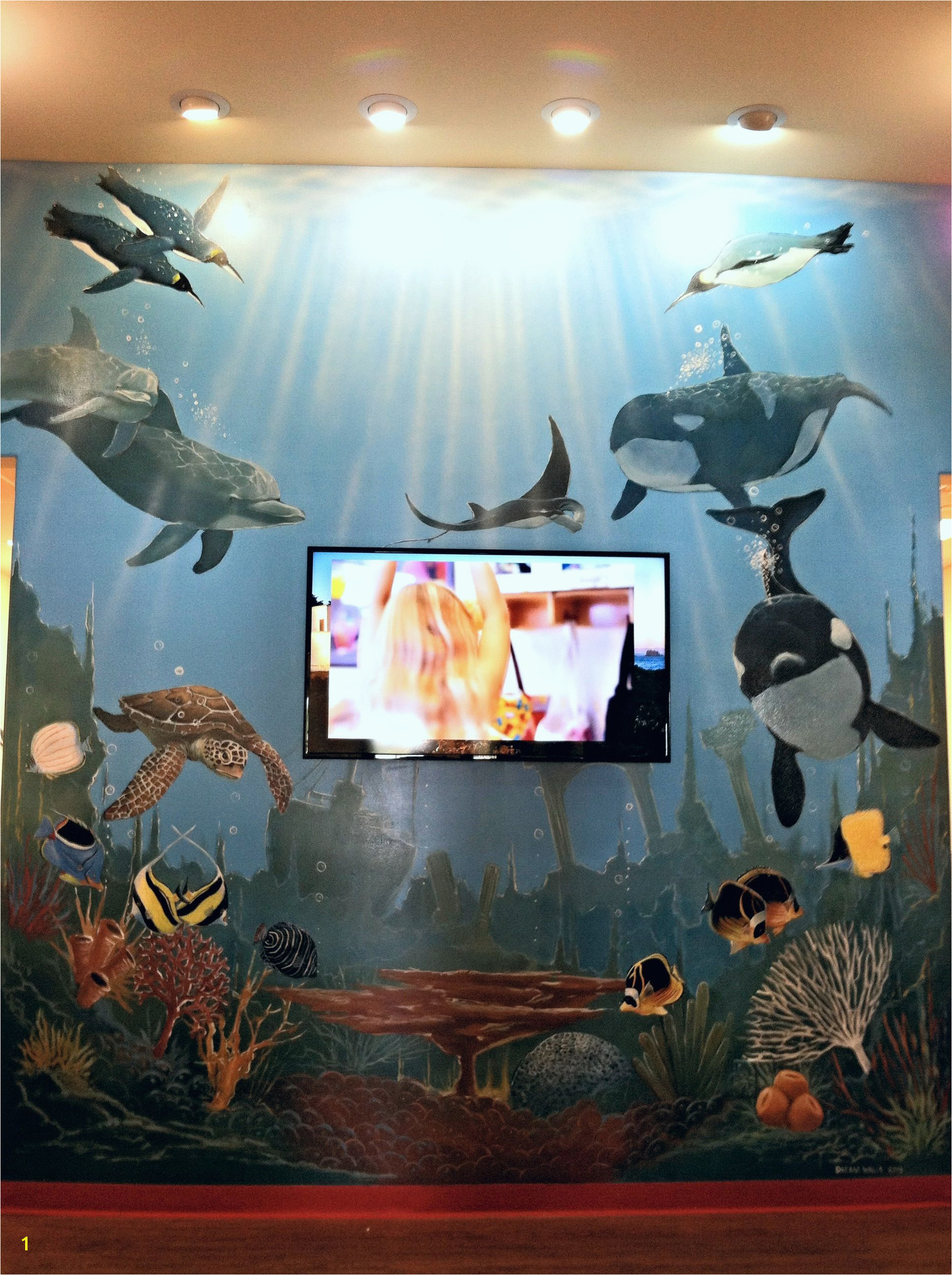 Underwater Mural at The Goddard School in League City Houston Texas Dream Walls Murals and Faux Finish By Artist Alfredo
