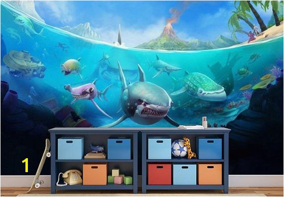 underwater wallpaper underwater wall mural underwater wall decal shark wallpaper ocean life wallpaper tropical sea wallpaper kids