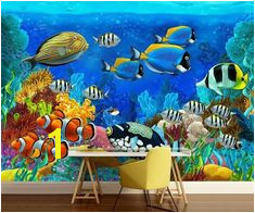 Underwater wallpaper underwater wall mural sea wall mural underwater world wall mural self adhesive water wall mural peel and stick